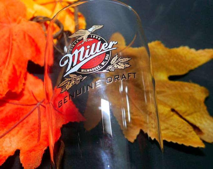 Vintage (1980s) Miller Genuine Draft pint glass. Etched-glass branding.