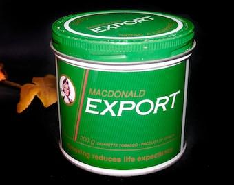Vintage (1980s) Macdonald Export Tobacco tin (empty). Sold individually.