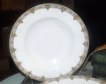 Antique (1870s) Fuisseaux de Baudour | Baudour rimmed soup bowl made in France. Sold individually.
