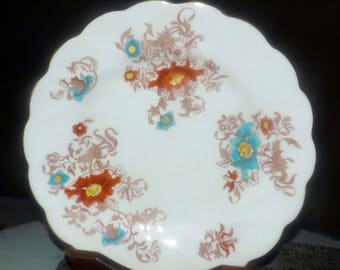 Almost antique (late 1920s) Coalport 9756 hand-painted dinner plate | charger.  Aqua, russet florals, swirled verge, scalloped gold edge.