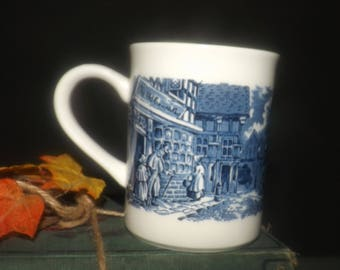 Vintage (1970s) English Ironstone Tableware Dickens Series Blue coffee | tea mug. The Old Curiosity Shop. Flawed. : ironstone tableware made in italy - pezcame.com