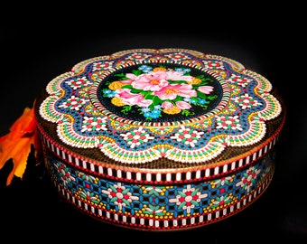 Early mid century Ornate lithographed beaded floral mosaic round cookie tin designed by Daher and made in England.