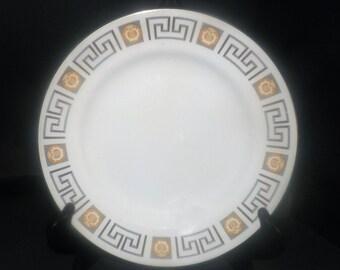 Vintage (1960s) British Anchor Olympus luncheon plate. Greek key, harp design, gold edge. Hostess Tableware.