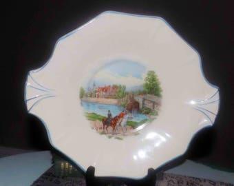 Quite vintage (1930s) Hollinshead & Kirkham   HK Tunstall handled cake   cookie plate. Dogs, horses, people, embossed handles