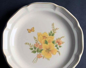 Vintage (1980s) Sango Butterfly pattern 3411 salad or side plate. Orange, yellow flowers, yellow butterfly. Sango Stone stoneware.