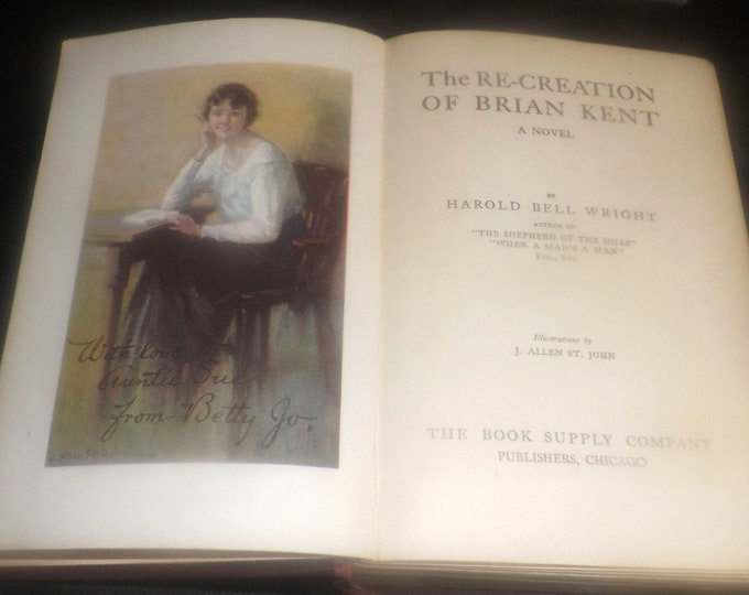 Antique (1919) first-edition hardcover book The Recreation of Brian Kent. Harold Bell Wright. Book Supply Co. Complete.
