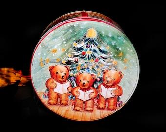 Vintage (1980s) round Christmas cookie tin. Teddy Bear Choir, Christmas Tree. Great for the Christmas shortbreads.