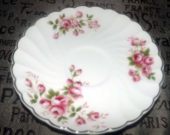 Early mid-century (1940s) Johnson Brothers England JB327 orphan saucer. Pink roses, gold edge and accents.