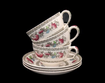 Set of three antique (1910s) art nouveau Johnson Brothers Indian Tree cup and saucer sets. Hand decorated, made in England.