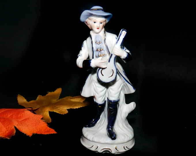 Vintage (1960s) Dresden-style figurine of a young man in period | Victorian dress with a lute. Attributed Taiwan 1960s.