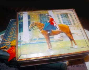 Early mid-century (1940s) Edward Sharp & Sons hinged biscuit | confectionery tin.  Queen Elizabeth on horseback.