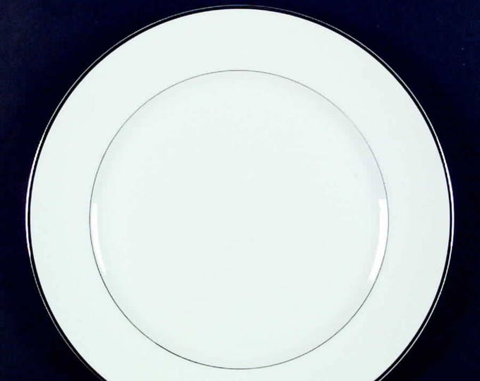 Vintage (1980s) Harmony House Japan Mary pattern 3835 large dinner plate.  Pure white ground with a smooth silver edge and center band.