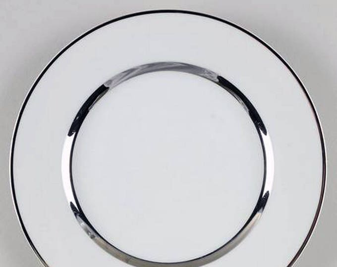 Vintage (1980s) Harmony House Silver Rhapsody 3506 salad | side plate.  Silver band on white, silver edge. Made in Japan. Flawed.
