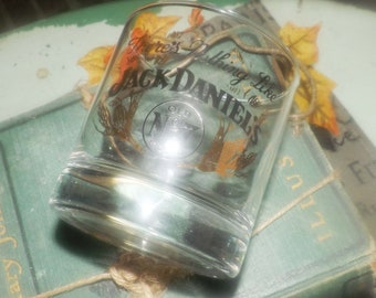 Vintage There's Nothing Like Jack Daniels whisky neat | lo-ball | on-the-rocks glass.  Etched-glass branding.