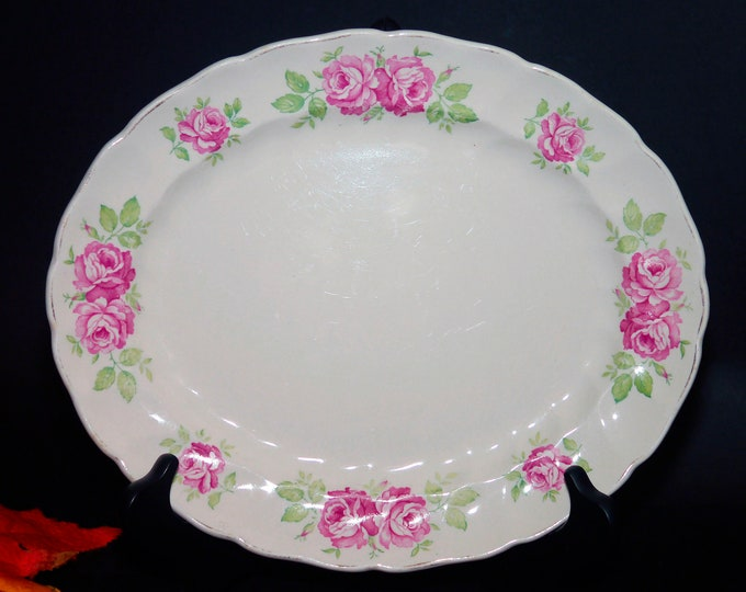 Mid-century Johnson Brothers JB664 oval vegetable serving platter. Old Chelsea ironstone made in England.