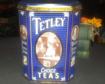 Vintage (1987) Tetley Choice Teas 150-years of Tetley commemorative tin | tea caddy.  Great vintage advertising, kitchen storage and decor.