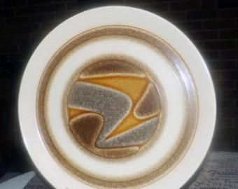 Vintage (1970s) Crown Lynn New Zealand Landscape D625 round serving platter   chop plate. Earthtones stoneware.