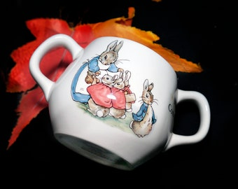 Vintage (1989) Wedgwood Peter Rabbit double-handled hug-a-mug. Flopsy, Mopsy, Cottontail, Peter Rabbit. Beatrix Potter.  Gift for baby.
