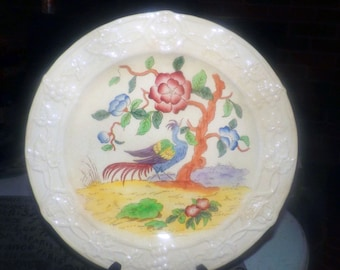 Antique (1800s) Coalport COA241 Chinoiserie Bird of Paradise | Cockatrice hand-painted, numbered dinner plate | charger. Coalport Kings Ware