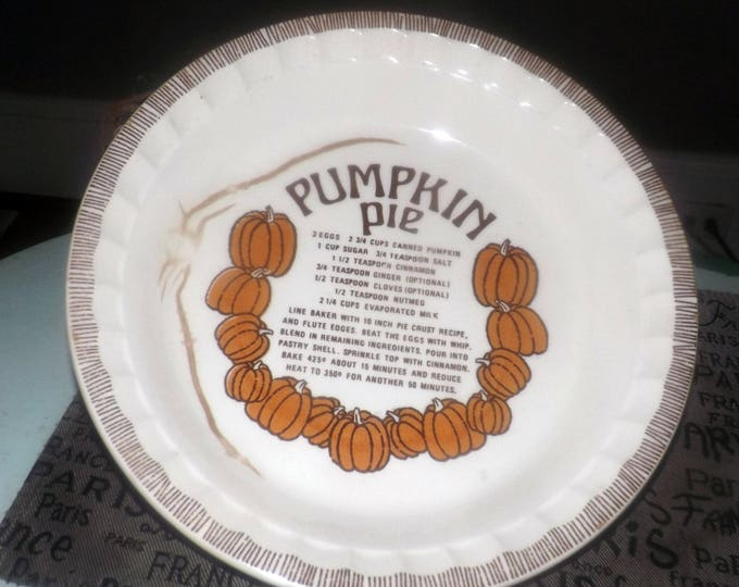 Vintage (late 1970s) Jeannette | Royal China Pumpkin Pie recipe pie plate. Recipe for Pumpkin Pie in center, crimped. Country Harvest.