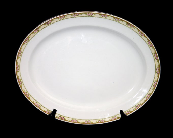 Antique (1910s) Globe Pottery oval art nouveau meat serving platter. Pink roses, greenery, yellow band, Made in England.
