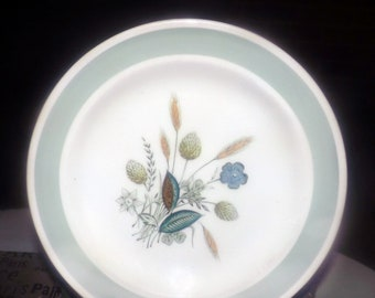Mid-century (1950s) Wood & Sons England Clovelly hand-decorated salad or side plate. Green clover, blue florals, light-green border band.
