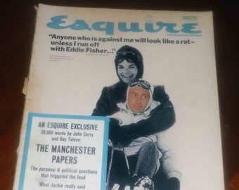 Vintage (June, 1967) Esquire magazine. Jacqueline Kennedy on cover.  Great Dewars Scotch ad on back cover.