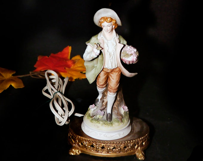 Early mid-century Lefton porcelain bisque figurine lamp. Young man in Victorian dress with floral bouquet. Requires repair (see below).