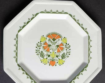Set of 3 vintage (1970s) Johnson Brothers Greenfield octagonal, rimmed dinner plates. Floral mosaic center, birds, pearl embossed edge.