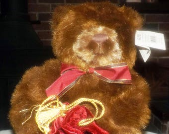 Vintage (1993) Gund Make-a-Wish Teddy Bear holding velvet gift pouch.  Made for Mappins Jewelers.