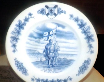 Vintage (1960s) Wood & Sons England Collector's Series Atlantic Canada blue-and-white dinner plate. Cabot discovers Cape Breton Island