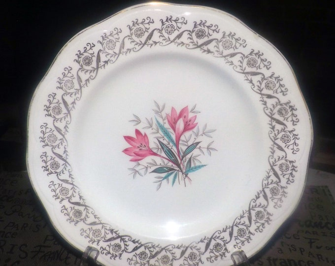 Mid-century (early 1950s) British Anchor Pottery pattern 6001 dinner plate. Pink florals and filigree.