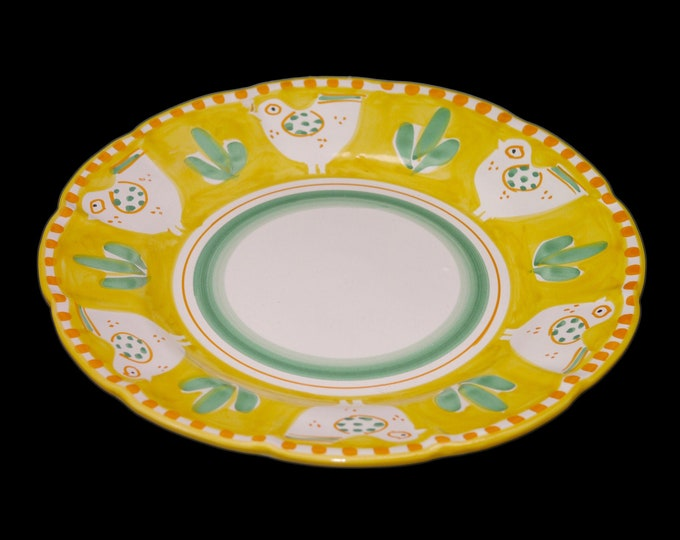 Vintage Vietri Solimene Campagna Chicken Yellow chop plate | service plate | round platter. Hand painted, made in Italy.