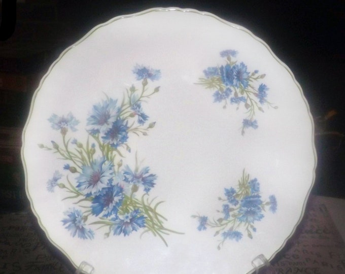 Mid-century James Kent | Old Foley | Foley blue mums and thistles dinner plate made in England.  Blue flowers on white, scalloped green edge