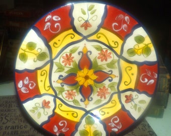 Pier 1 | Pier One Vallarta pattern hand-painted terracotta large salad or side plate.  Red and yellow florals and bands. Discontinued 2006.