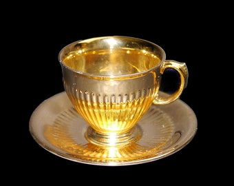 Mid-century Royal Winton Grimwades Golden Age gold lusterware tea set (footed cup with matching saucer) made in England.
