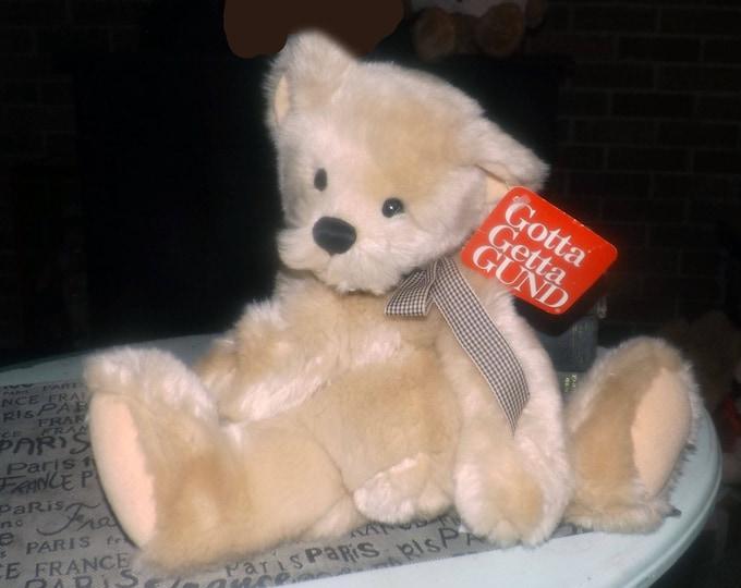 Vintage (mid 1990s) GUND Salesman's Sample plush | stuffed teddy bear with brown checked ribbon and bean bag bottom.  Original tags.