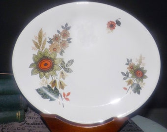 Mid-century (1950s) Alfred Meakin Glo-White oval vegetable platter.  Flower power orange and green flowers, coupe shape.