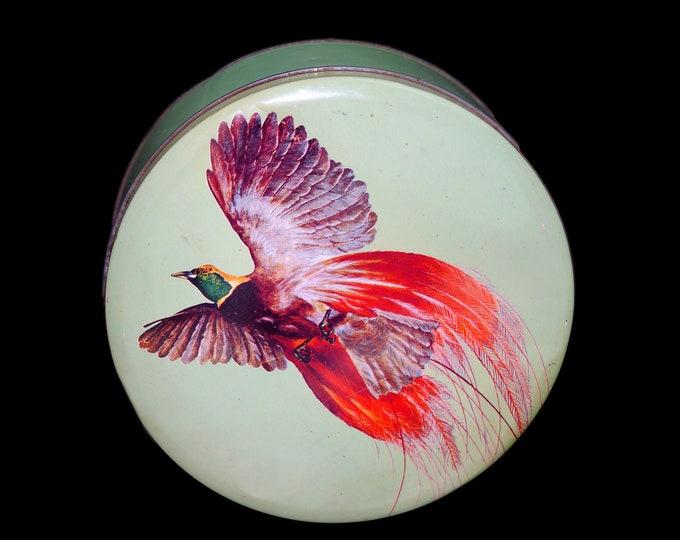 Mid century Peak Freans Biscuits Bird of Paradise round cookie tin. Great kitchen storage and decor.