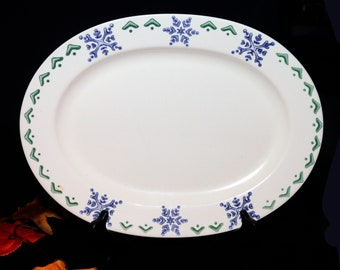 Vintage Pfaltzgraff Nordic Christmas oval platter. Blue snowflakes. Holiday stoneware made in the USA.
