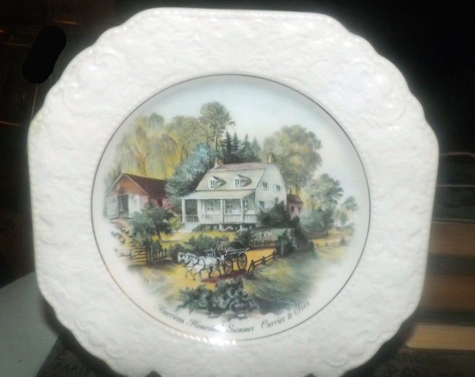 Vintage (1970s) Lord Nelson Pottery Currier & Ives American Homestead Summer decorative creamware plate.
