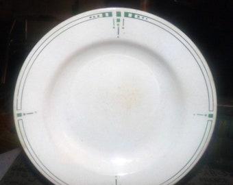 Antique (1909-1919) Christian Johannes van der Hoeff | Royal Sphinx Pottery art-deco geometric panel rimmed soup bowl.