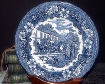 Vintage Royal Tudor Ware   Barker Bros. Coaching Taverns Blue large blue-and-white dinner plate made in England. Sold individually.