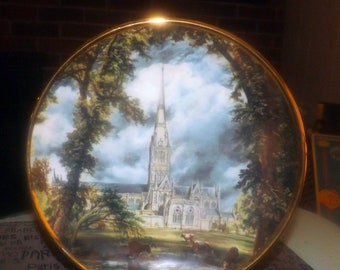Vintage (1960s) Lord Nelson Pottery decorative   cabinet plate of the Bishop's grounds at Salisbury Castle by artist John Constable.