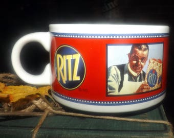 Vintage (late 1980s) Premium Plus | RITZ crackers | PRIMO soup large, stackable soup mug. Vintage advertisements for PRIMO and Nabisco.