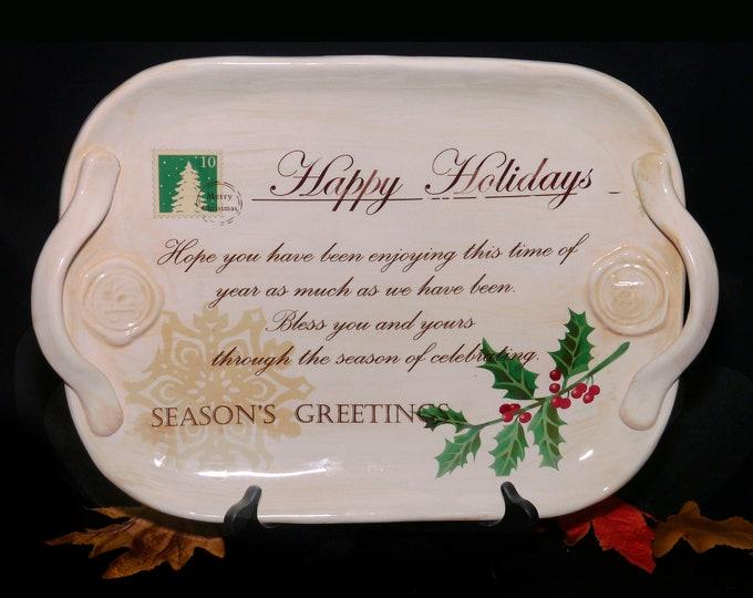 Vintage (1999) Jay Imports Merry Christmas Ho Ho Ho holiday postcard handled turkey platter. Christmas Greeting, holly berries.
