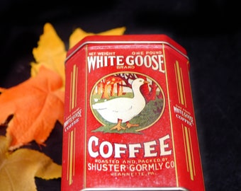 Vintage White Goose Coffee Shuster & Gormley | Journey Coffee Co reproduction tin made by The Tin Box Company.