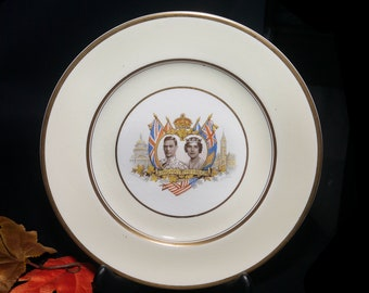 Vintage (1939) Commemorative Plate George VI Princess Elizabeth Royal Visit to Canada. Made in England by Johnson Brothers.
