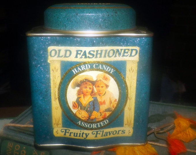 Vintage (1970s) Old Fashioned Hard Candy Fruity Flavors candy tin. Tin made in Hong Kong, designed by Keller Charles PA USA.