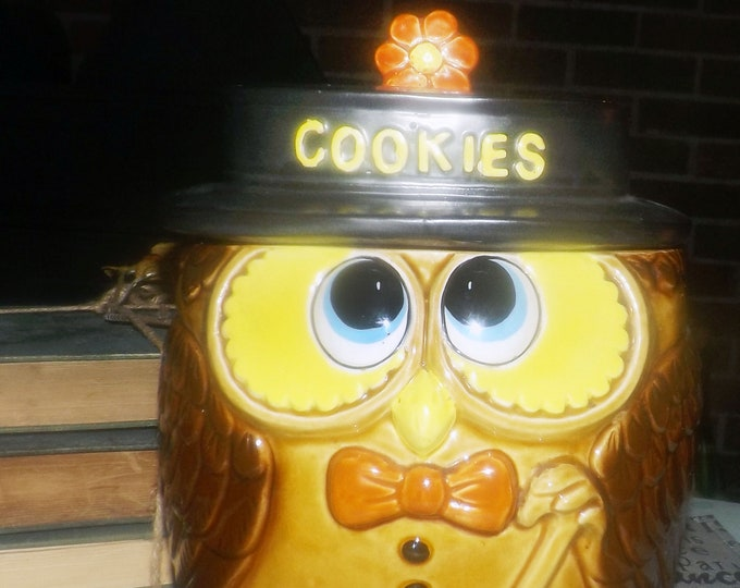 Large vintage (1970s | 1980s) ceramic Owl Cookie Jar made in Japan. Well-dressed scholarly owl in top hat and bow-tie with walking cane.